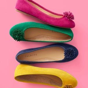 Talbots PENELOPE pom pom pink suede ballet flats 8